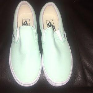 Turquoise Blue Slip On Vans